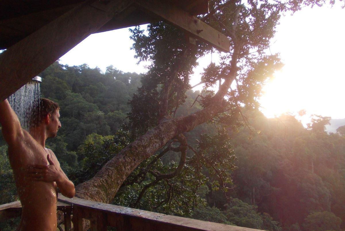 Laos-Gibbon-Experience-Baumhaus-Dusche